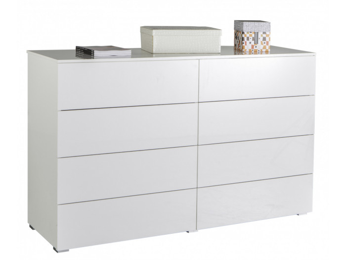 Commode blanche 8 tiroirs ESSENTIELLE