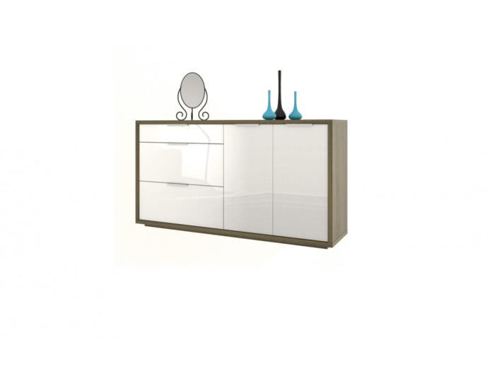 Commode blanche 3 tiroirs 2 portes ESSENTIELLE