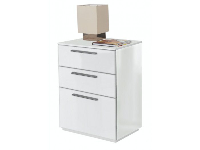 Bedside Table white handles alu ESSENTIAL