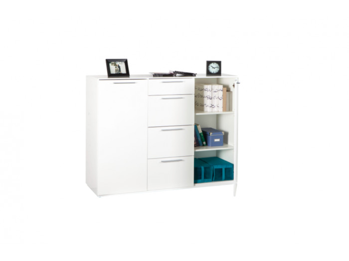 Commode blanche 4 tiroirs 2 portes ESSENTIELLE