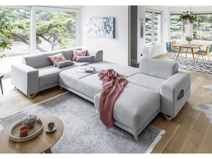 Canapé d'angle XXL panoramique convertible coffre BELLA