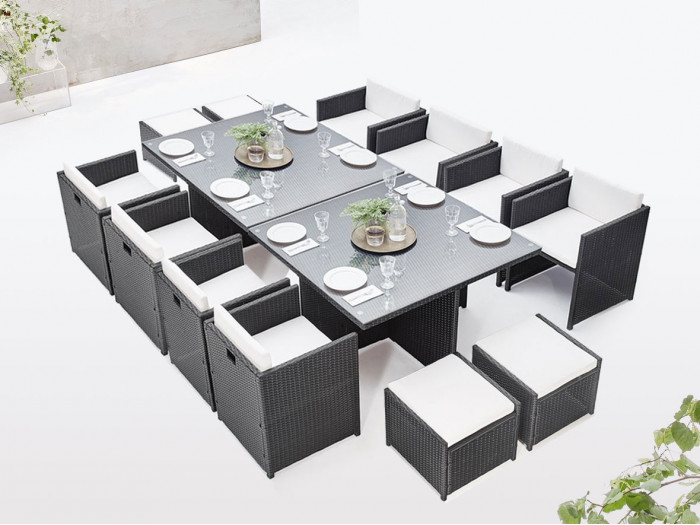 Salon de jardin modulable encastrable FAMILY 12 places