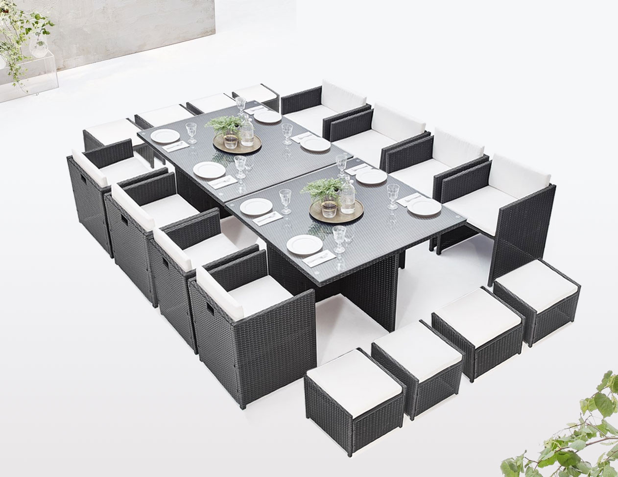 Salon de jardin modulable encastrable FAMILY 16 places | BOBOCHIC ®