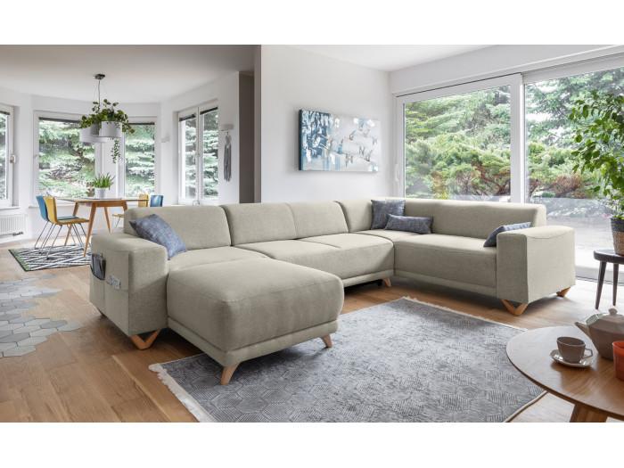 Corner sofa XXL panoramic convertible safe BELLA