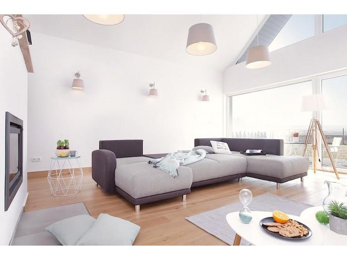 bobochic minty panoramique droit canap d 39 angle convertible bicolore gris clair gris. Black Bedroom Furniture Sets. Home Design Ideas