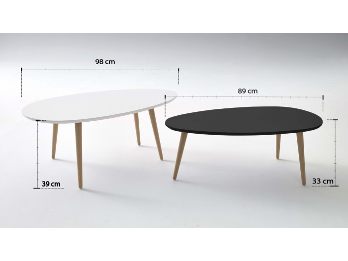Coffee Tables, Stacking Scandinavian - Lot of 2