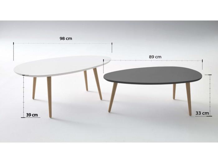 Tables Basses Gigognes Scandinaves - Lot de 2