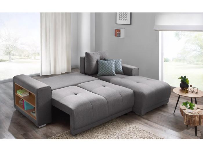 Kanapa narożna z miękkim dachem + półki LISBONA