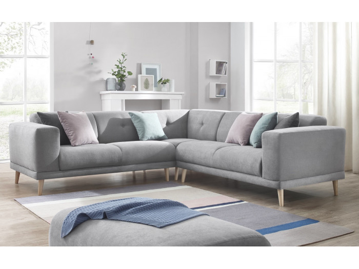 Panoramic sofa with pouffe LUNA