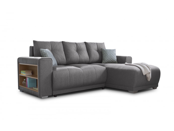 Corner convertible sofa with shelves LISBONA