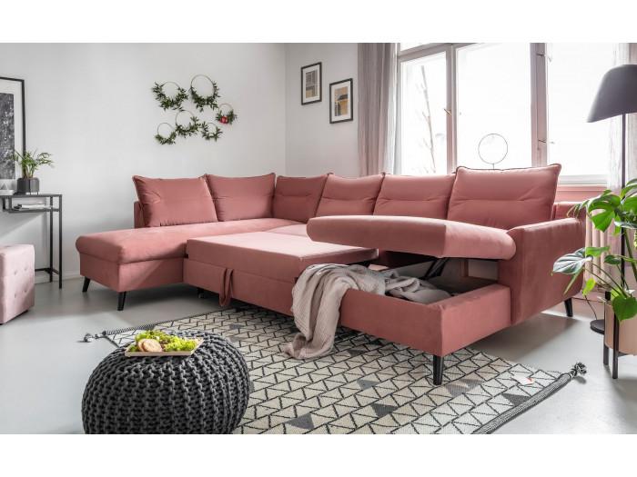 Canapé d'angle panoramique convertible coffre BERGAMO