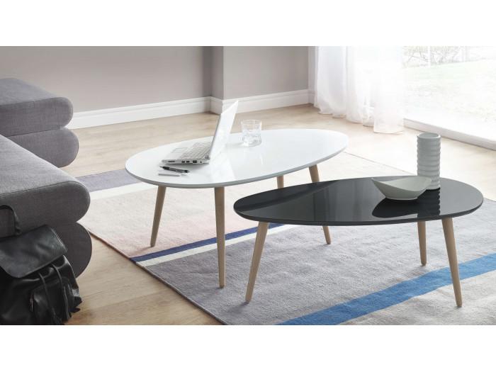 Chaises tromso lot de 2 chaises design scandinave noir - Tables basses scandinaves ...