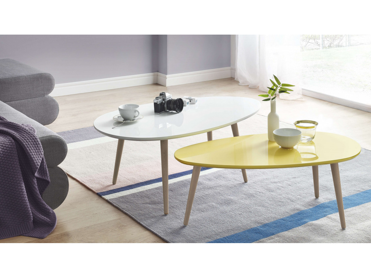 Coffee tables stacking scandinavian bobochic paris - Table basse gigogne galet ...