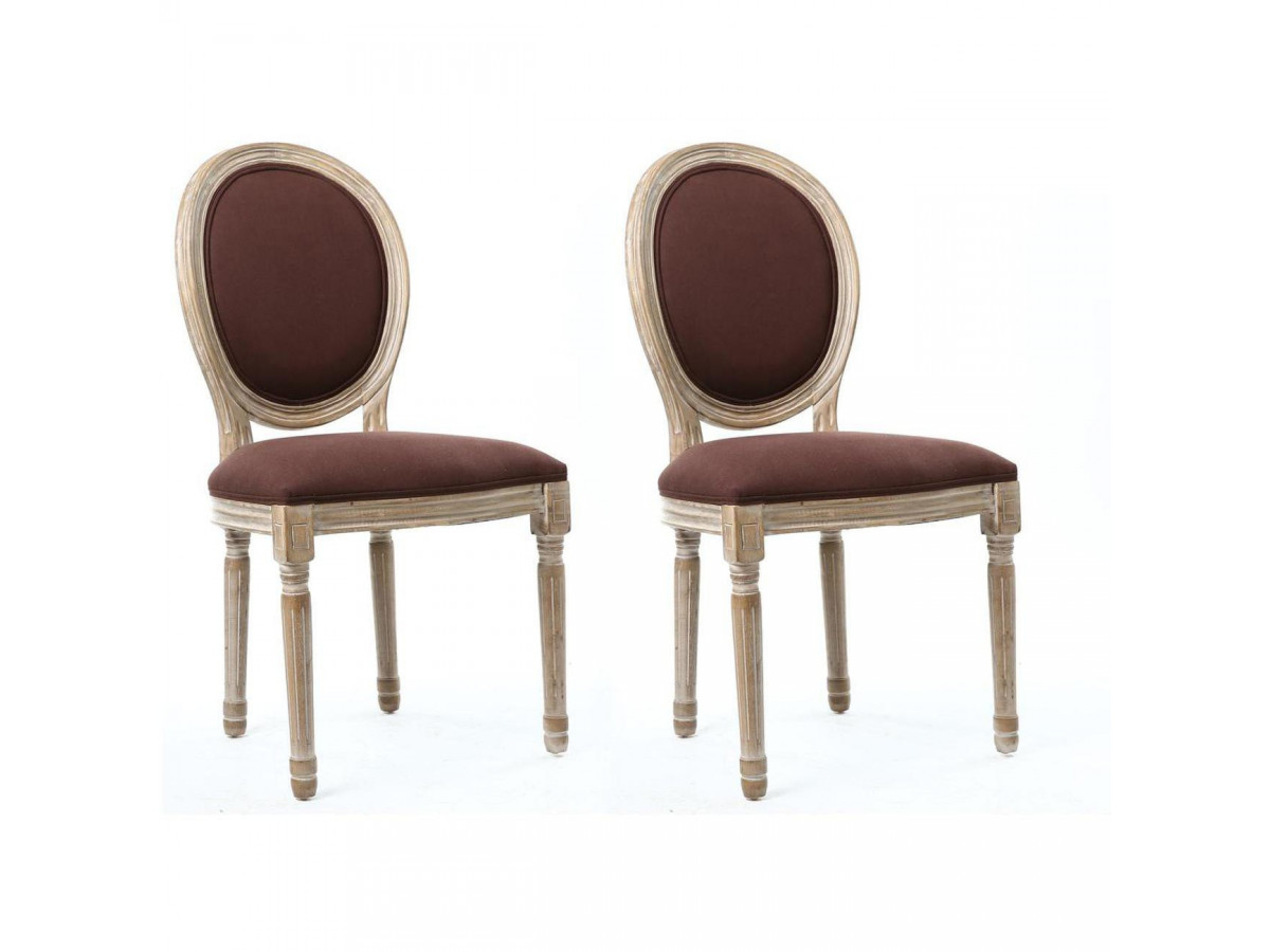 Lots de 2 chaises élégantes en lin MEDAILLON