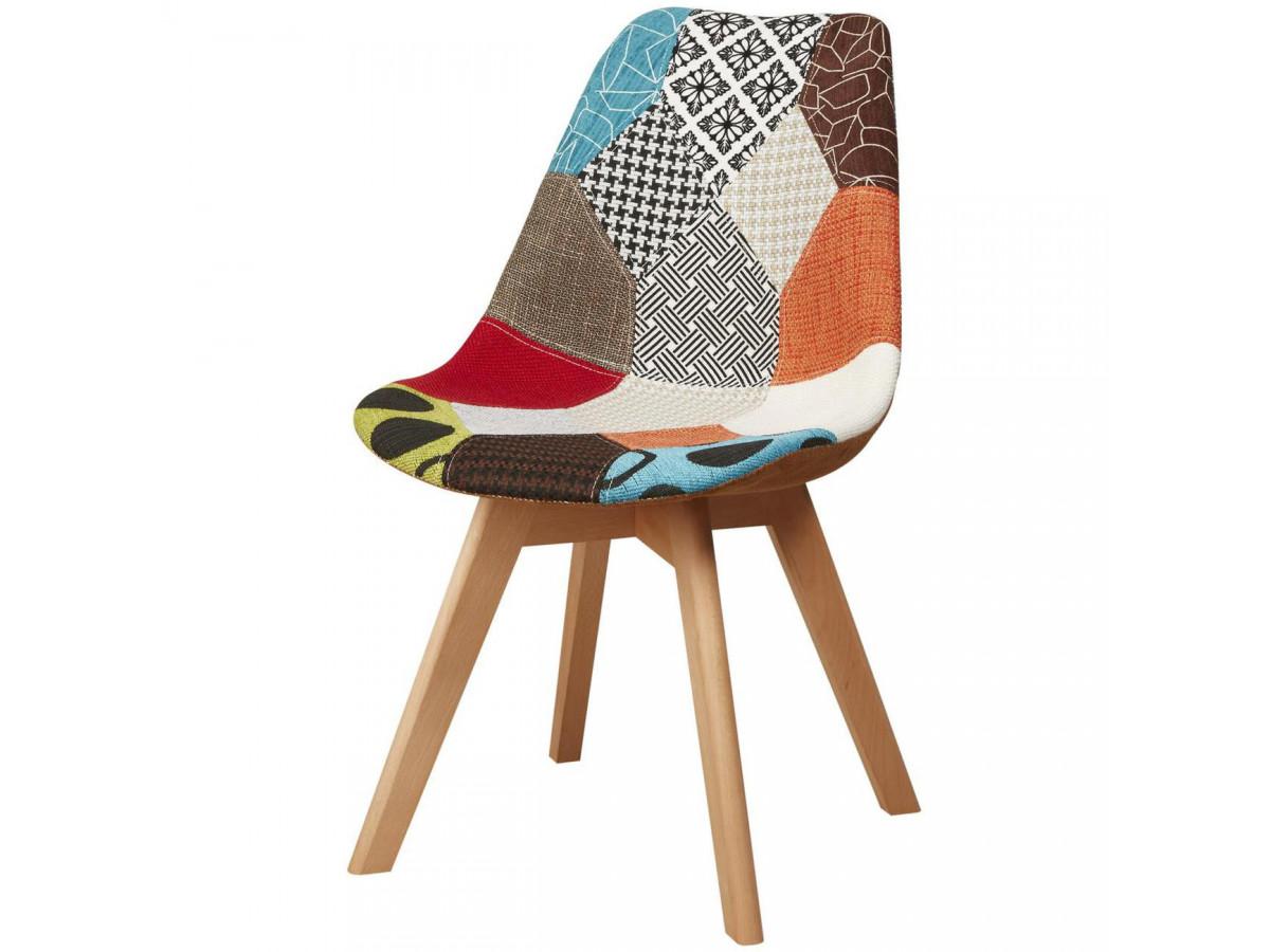Lot de 4 chaises tendance façon patchwork MARTINS
