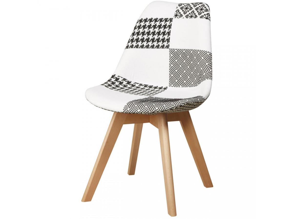 Lot de 4 chaises tendance façon patchwork LEOBEN