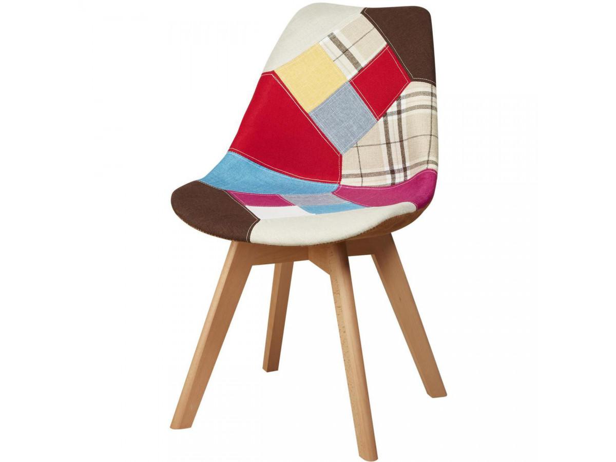 Lot de 4 chaises tendance façon patchwork BREGENZ