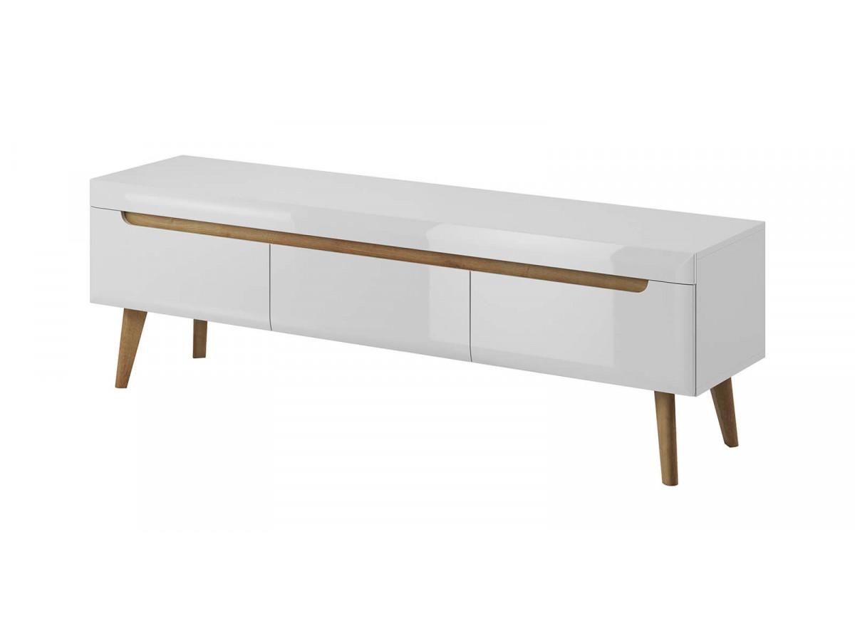 Tv stand NORDI white WHITE gloss and light wood Subleem ®