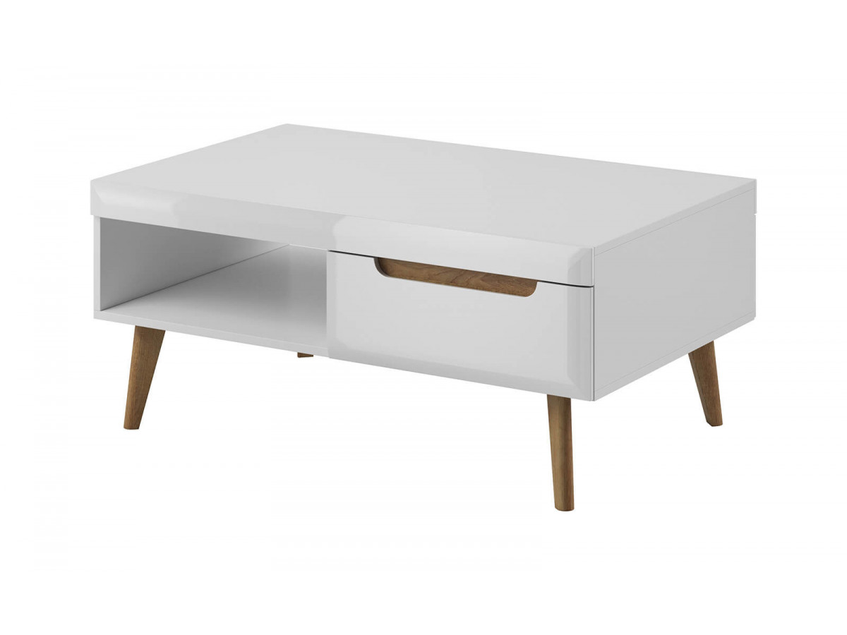 Coffee Table NORDI white WHITE gloss and light wood Subleem ®