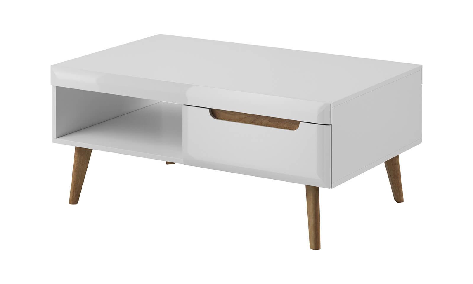 Table basse NORDI blanc brillant et bois clair