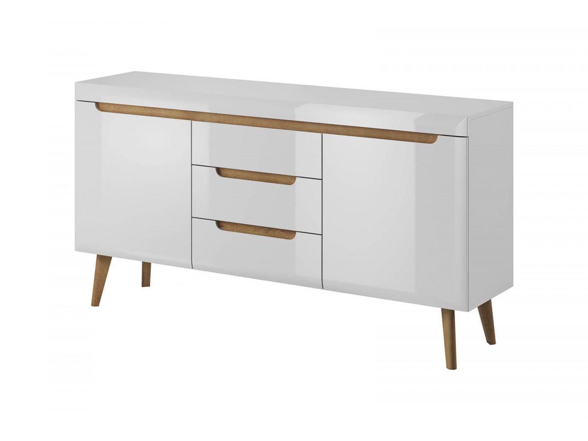 Buffet NORDI white WHITE gloss and light wood Subleem ®