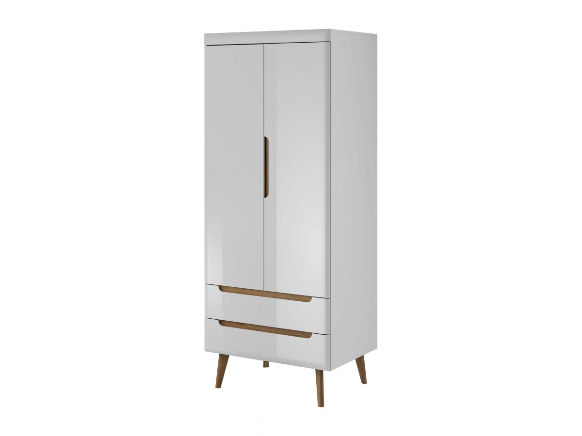 Wardrobe NORDI white WHITE gloss and light wood Subleem ®