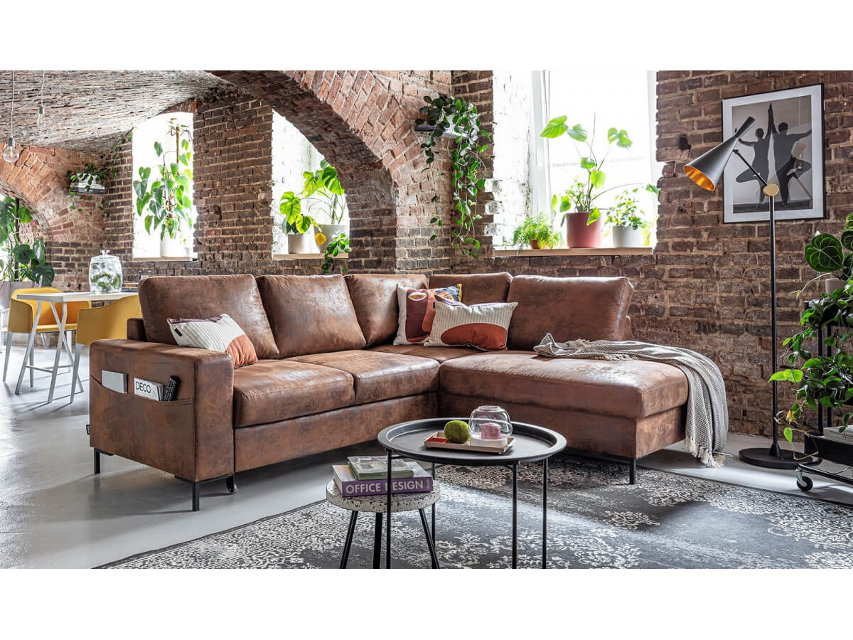 Corner sofa convertible L vintage LILLY