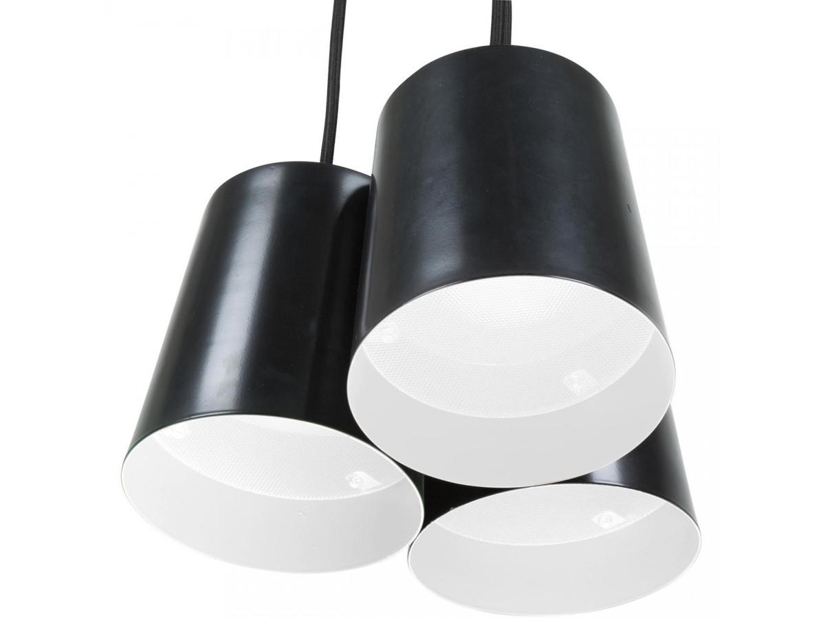 Suspension modern en metal noir a trois têtes