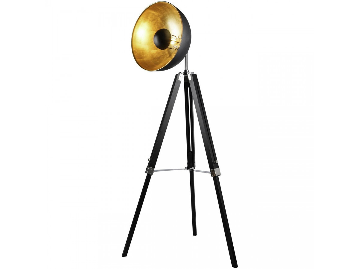 Floor lamp tripod style design cinema black metal modern with its inner dore