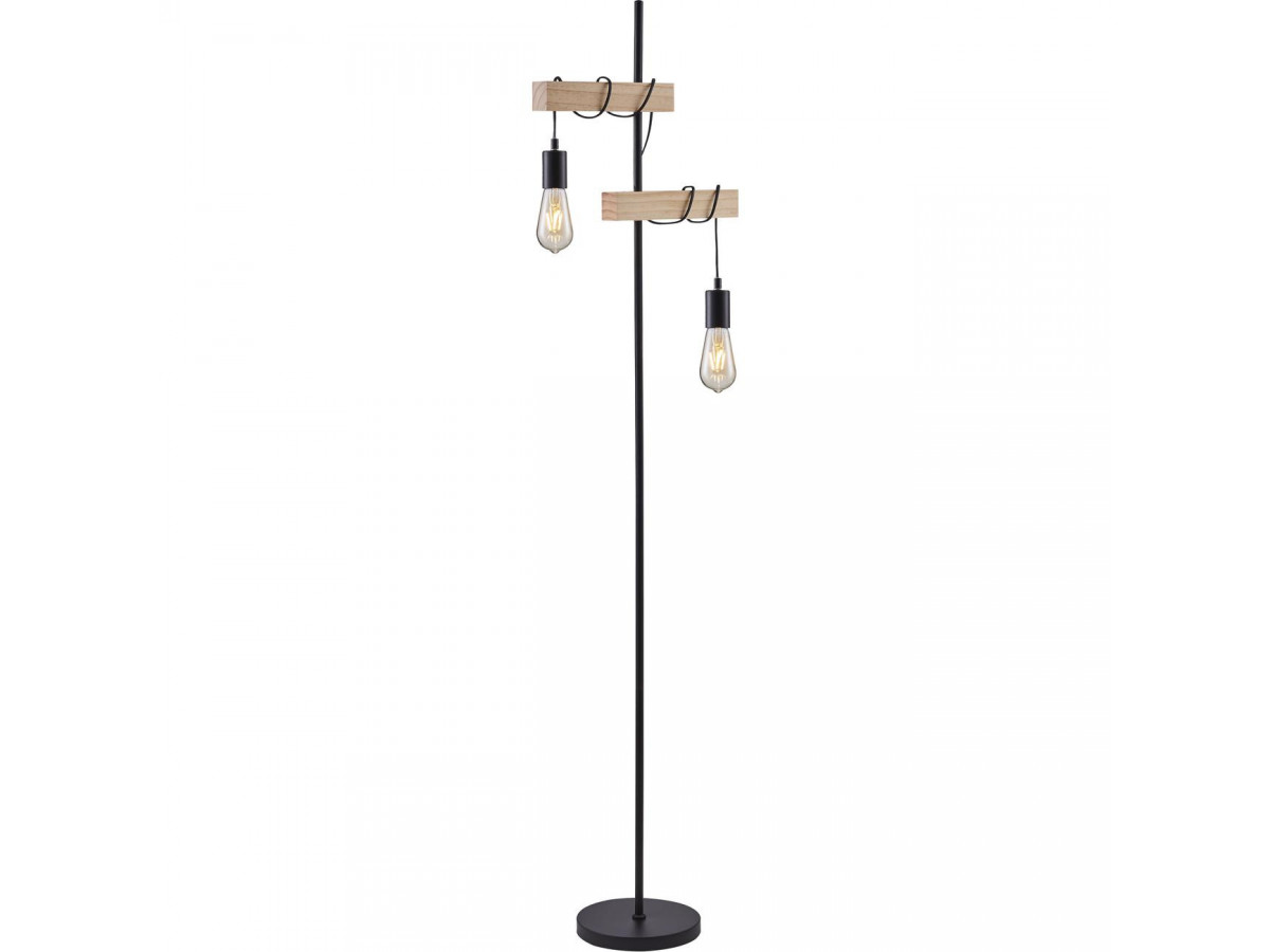 Floor lamp LUCIEN black and wood