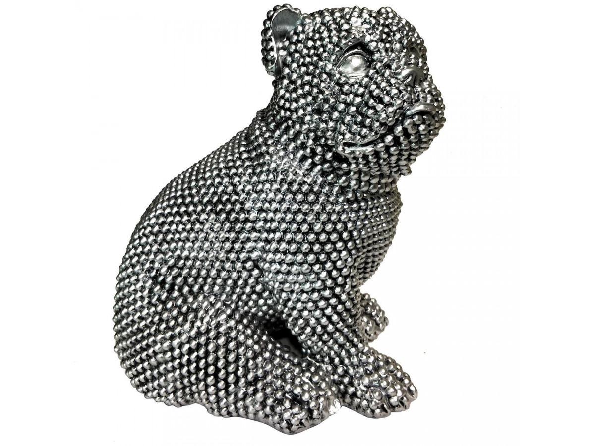 Statue elegante de chien en polyresine Rixi Argent1