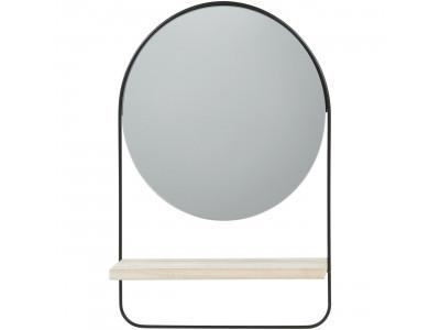 Miroir rond ENS en métal avec étagère bois