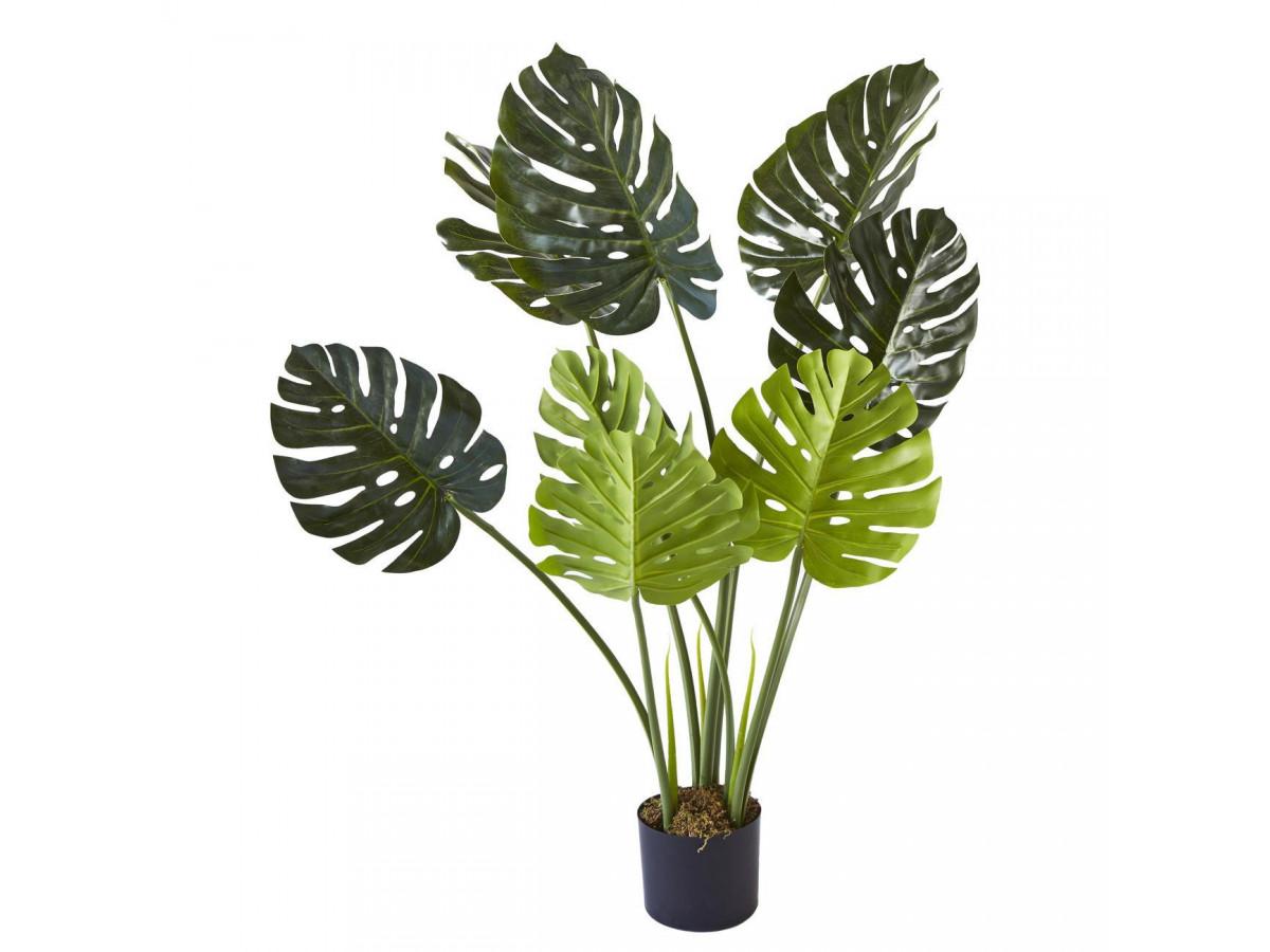 Plante artificielle en polyethylène a 8 feuilles et son pot noir Olla1