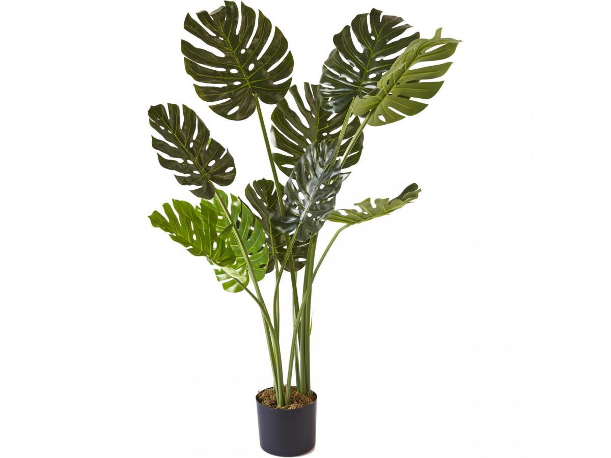 Plante artificielle en polyethylène a 10 feuilles et son pot noir Olla1