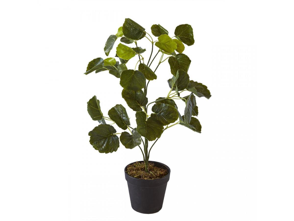 Plante artificielle en polyethylène a 42 feuilles et son pot noir Olla1