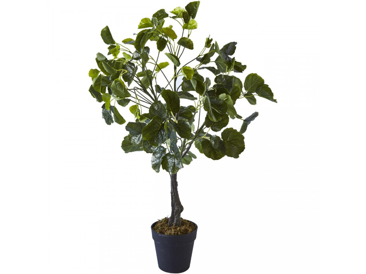 Plante artificielle en polyethylène a 126 feuilles et son pot noir Olla1