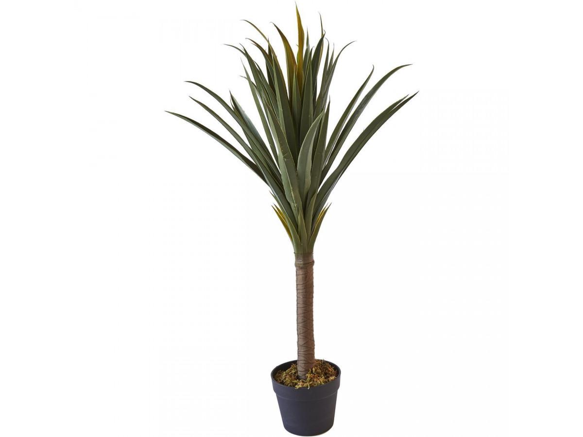 Plante artificielle en polyethylène a 62 feuilles et son pot noir Olla1