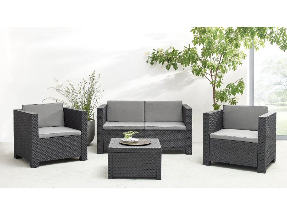 Salon de jardin diva bobochic paris - Salon de jardin allibert new york gris anthracite ...