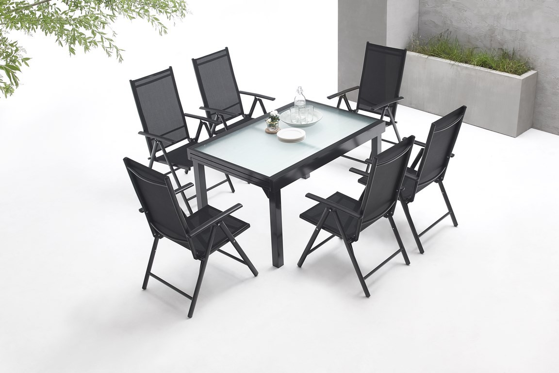 Salon de jardin aluminium 6 seater milano bobochic paris for Salon de jardin aluminium