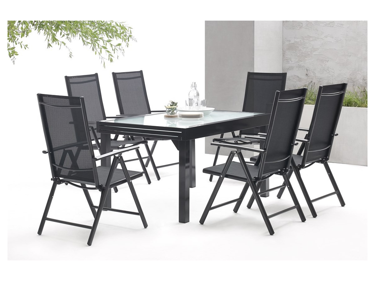 Salon de jardin aluminium 6 seater milano bobochic paris for Salon de jardin paris