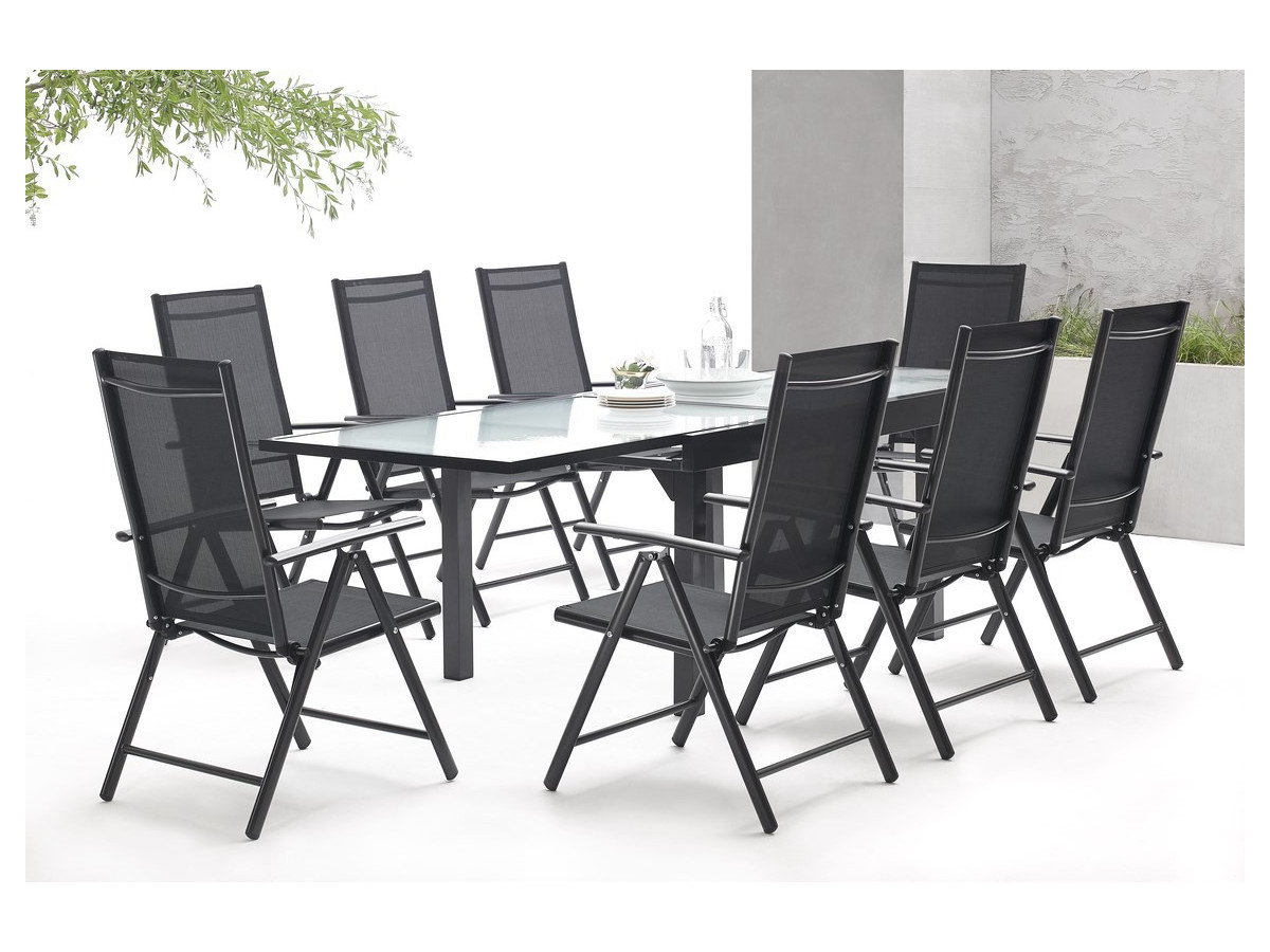 salon de jardin en aluminium 8 places milano bobochic paris. Black Bedroom Furniture Sets. Home Design Ideas