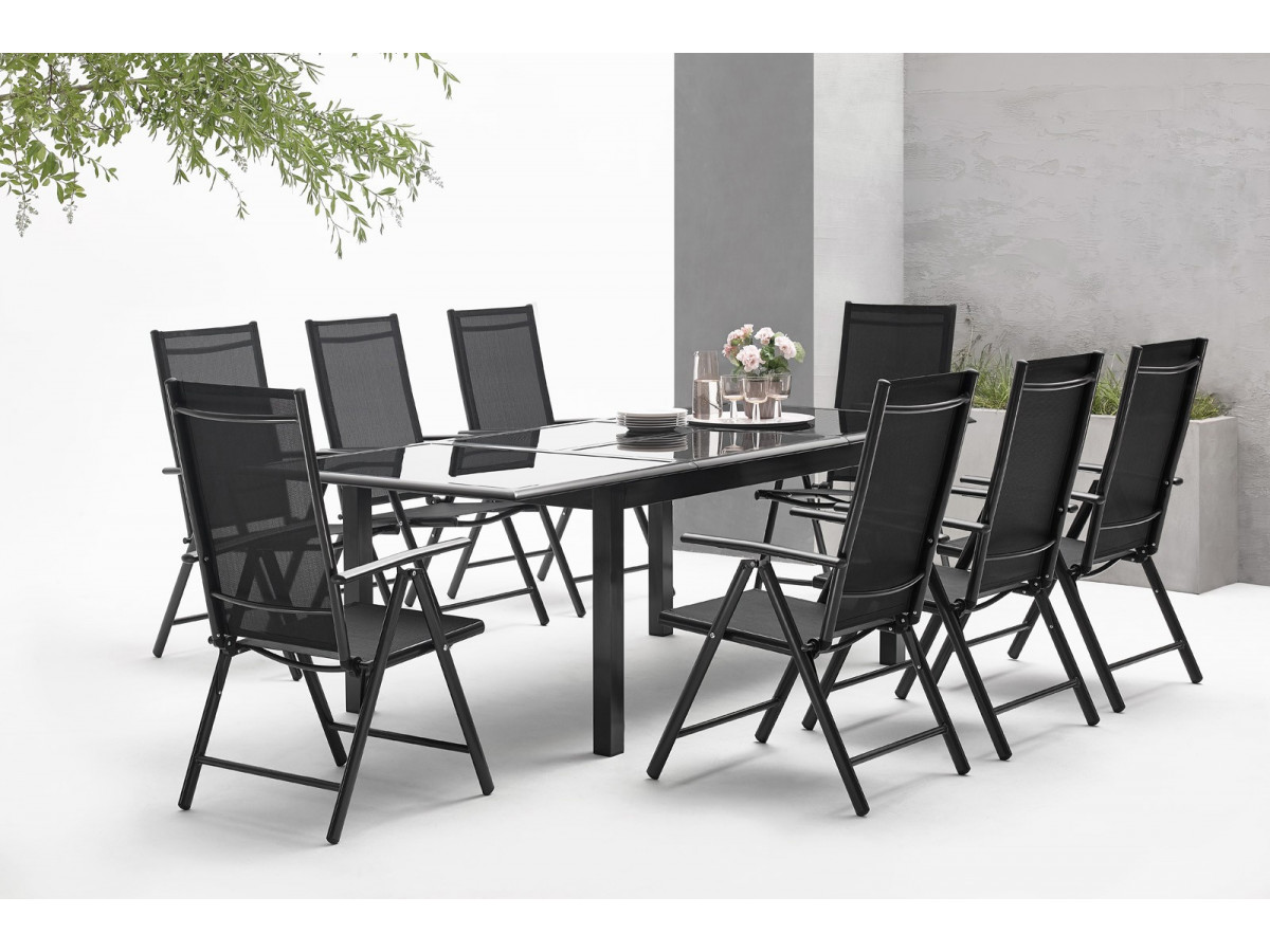 salon de jardin aluminium 10 places table de jardin. Black Bedroom Furniture Sets. Home Design Ideas