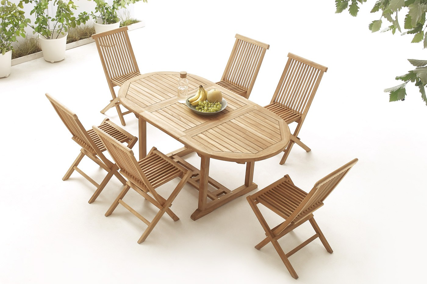 Oval table 6 chairs teak plain solid bobochic paris for Table 6 chaises