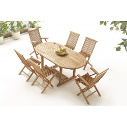 Table Ovale 4 chaises + 2 fauteuils Brut Massif