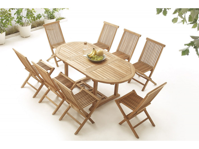 Oval Table 8 chairs TEAK Plain Solid