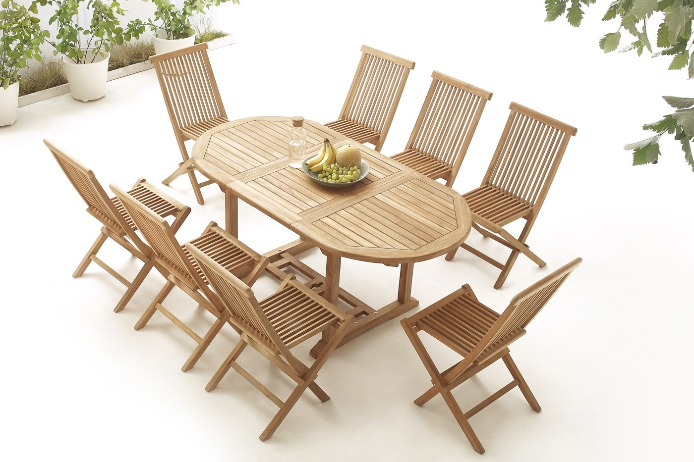 Table Ovale 8 chaises Brut Massif