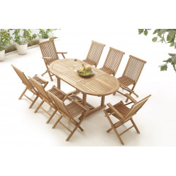 Table Ovale 6 chaises + 2 fauteuils Brut Massif