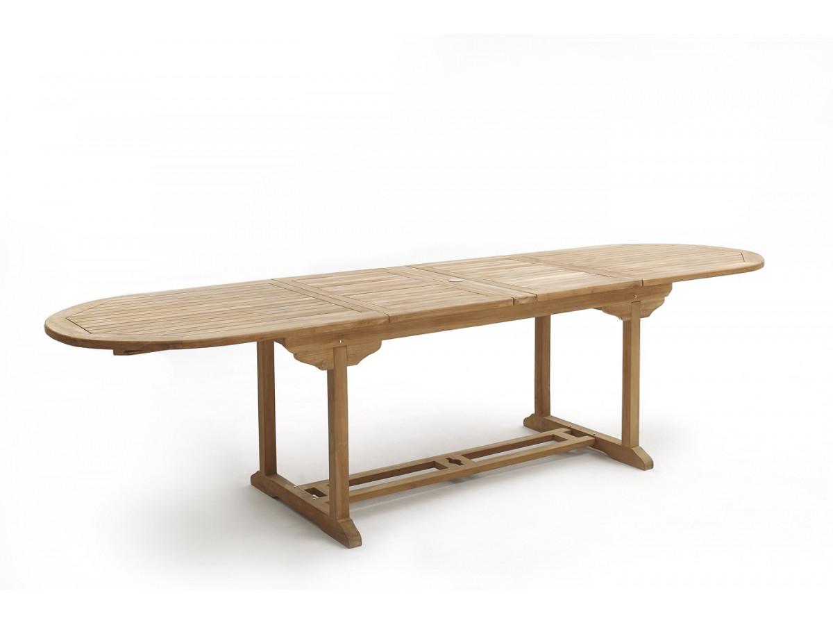 Table ovale 6 chaises 2 fauteuils teck brut massif for Table exterieur ovale