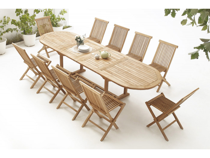 Oval Table 10 chairs TEAK Plain Solid