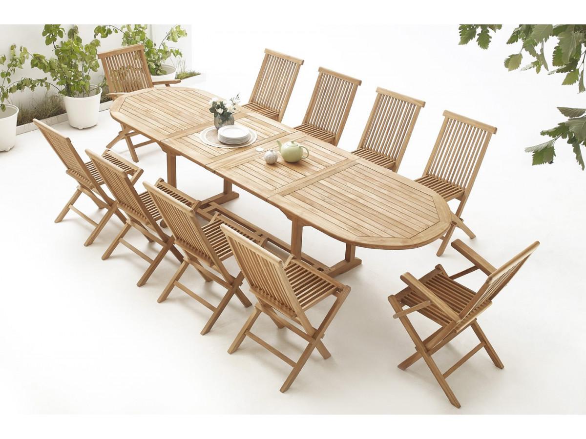 table ovale 8 chaises 2 fauteuils teck brut massif bobochic paris. Black Bedroom Furniture Sets. Home Design Ideas